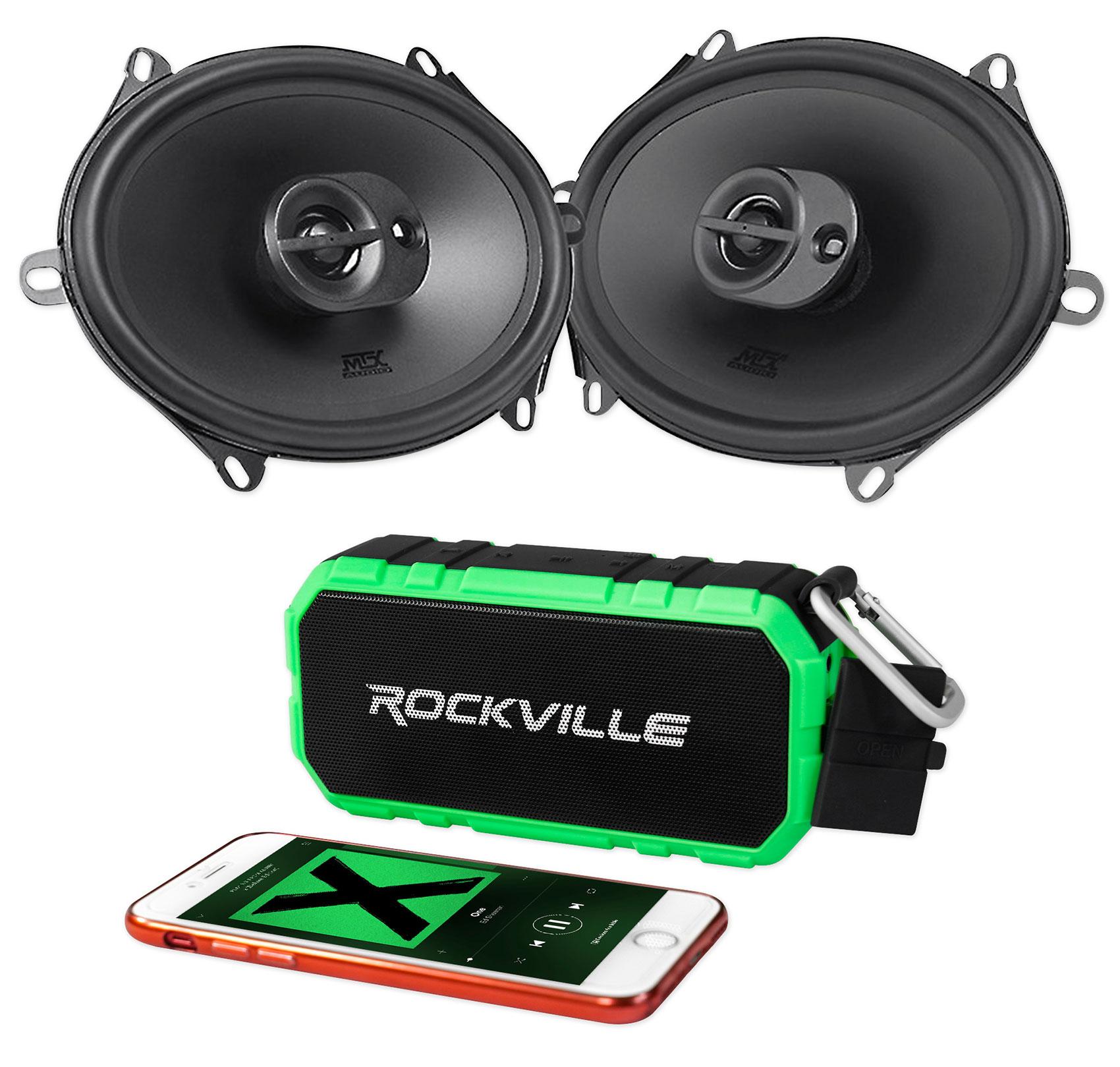 "Pair MTX Audio TERMINATOR573 5x7"" / 6x8"" 220 Watt Car Speakers+Bluetooth Speaker"