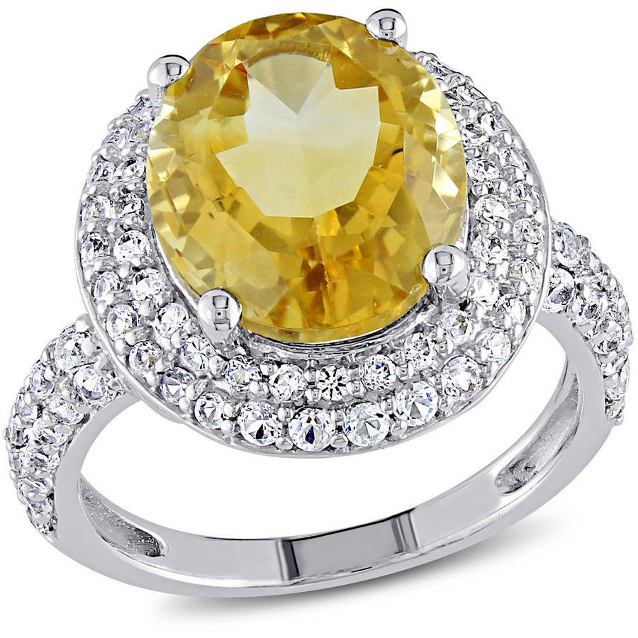 Tangelo 5-2 5 Carat T.G.W. Oval-Cut Citrine and Created White Sapphire Sterling Silver Cocktail Ring by Delmar Manufacturing LLC