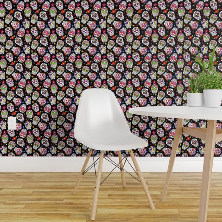 Day Of The Dead Halloween Wallpaper (Removable Water-Activated Wallpaper Sugar Skulls Skull Flower Day Of The)