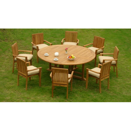 seater 7 pc 72 round table and 6 lua stacking arm chairs outdoor