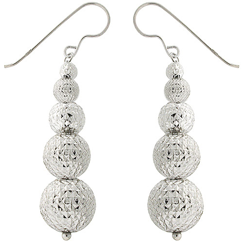 Diamond-Cut Graduated Ball Sterling Silver Earrings