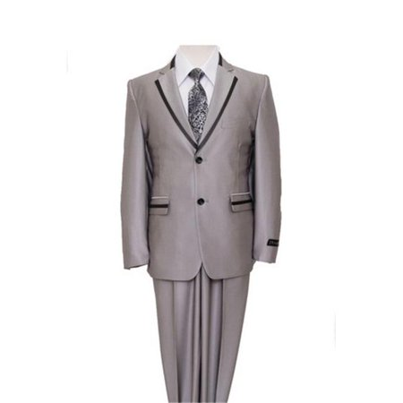 Mens Suits  2 Button Front Closure Flat Front Boys Suits  Silver & Black Trim - 8 - image 1 of 1