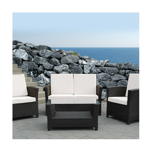 Beliani Rimini Outdoor 3 Piece Deep Seating Group with Cushions (Set of 4)