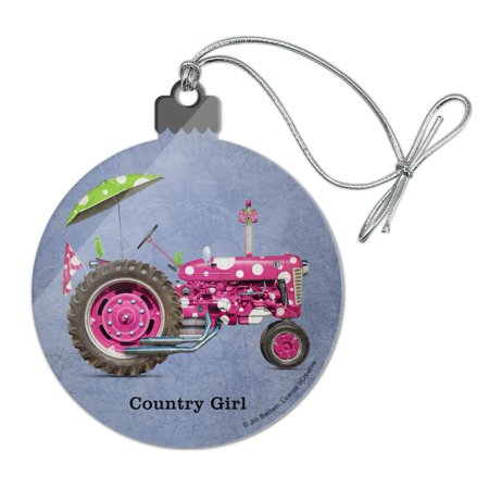 Farm Tractor Country Girl Pink Polka Dot Farming Acrylic Christmas Tree Holiday