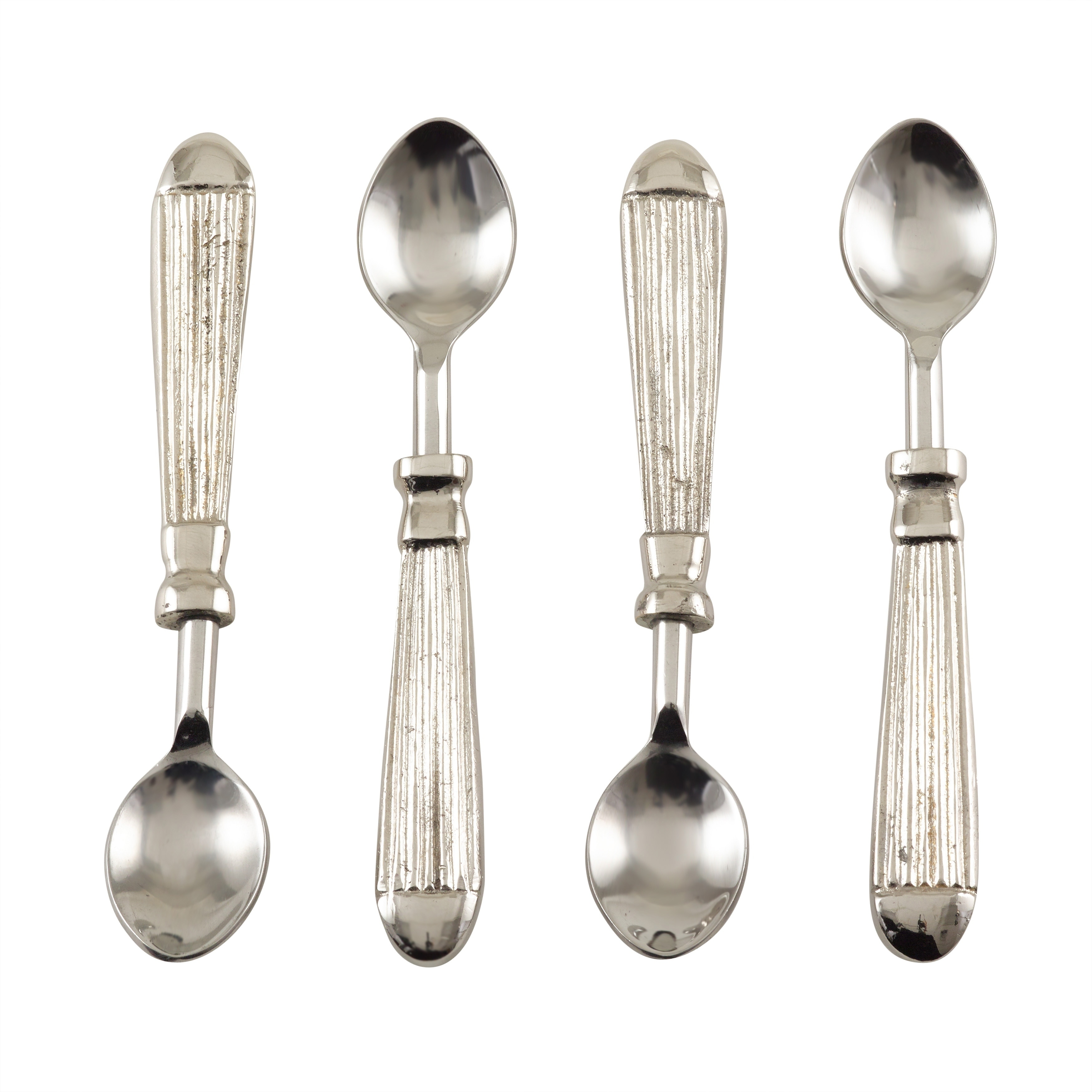 Saro Ribbed Design Texture Stainless Steel Cocktail Spoon - Set of 4 - Silver