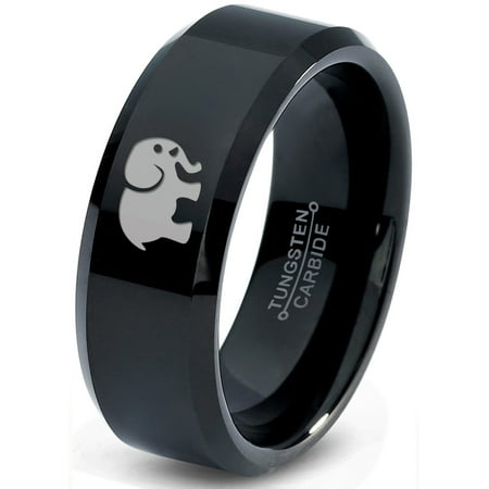 Tungsten Elephant Animal 2D Style Art Band Ring 8mm Men Women Comfort Fit Black Beveled Edge Polished
