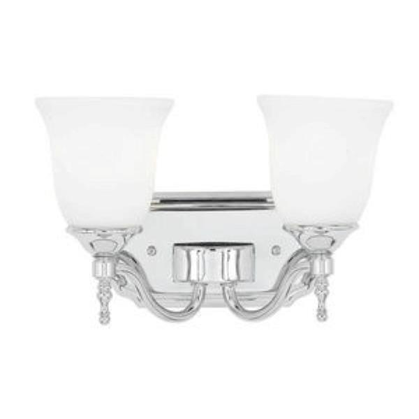 Quoizel Lighting Tritan - Two Light Bath Bar, Polished Chrome Finish with Opal Etched Glass