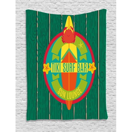 Surf Decor Tiki Bar (Tiki Bar Decor Tapestry, Tiki Surf Bar Sun Lounge Holiday Vacation Theme Surfboard Crab Starfishes, Wall Hanging for Bedroom Living Room Dorm Decor, 40W X 60L Inches, Multicolor, by Ambesonne )