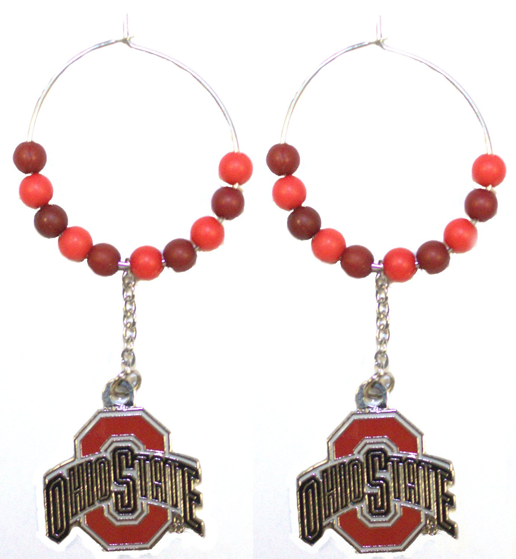 NCAA Officially Licensed Ohio State Buckeyes Beaded Chain Dangle Hoop Earrings
