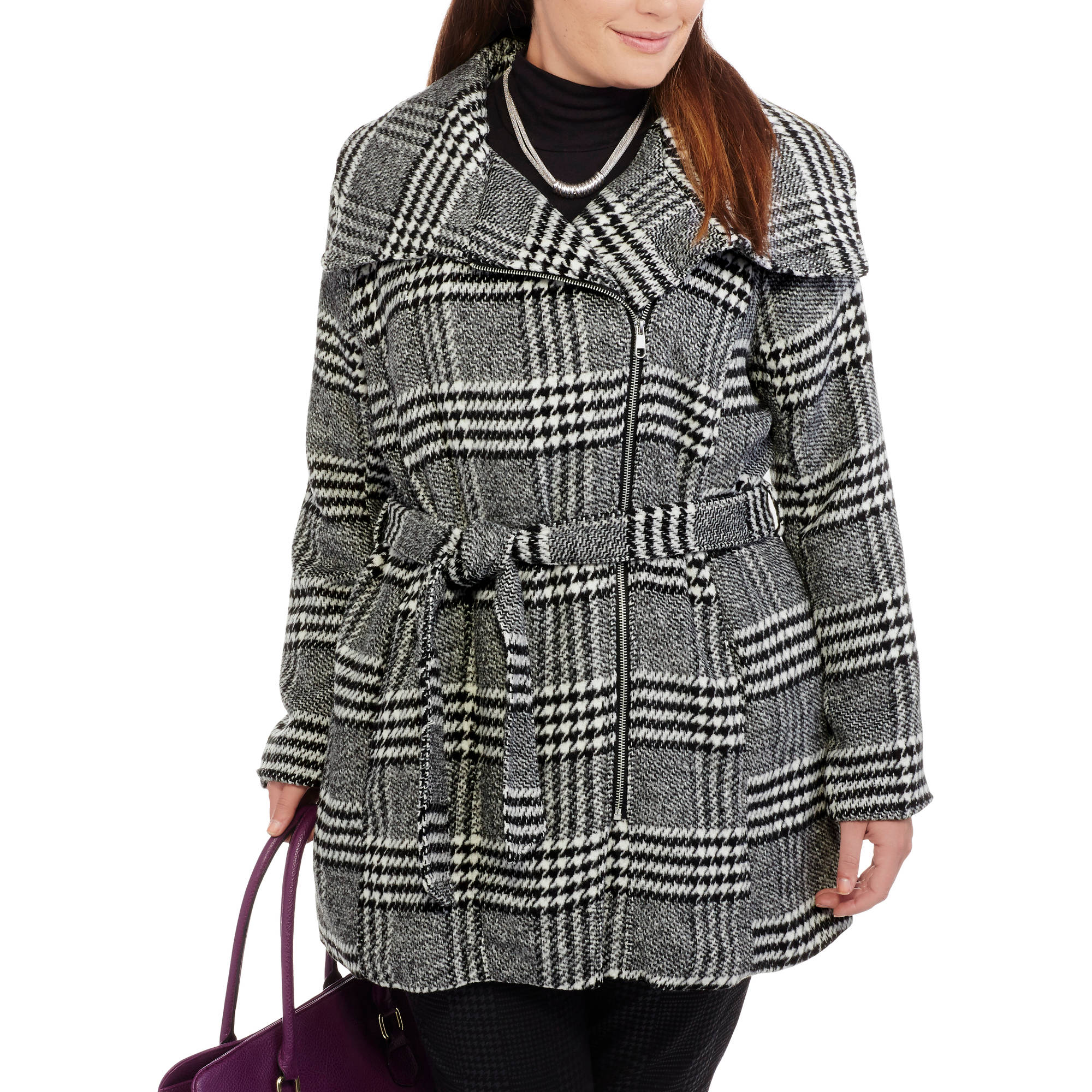 Maxwell Studio Women's Plus-Size Herringbone Asymmetrical Zip-Front Coat