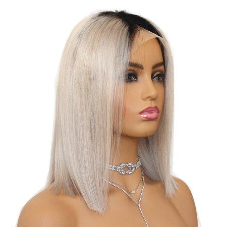 "AISOM 1B/Gray Bob Cut Glueless Full Lace Human Hair Wig Brazilian Virgin Hair, 10"""