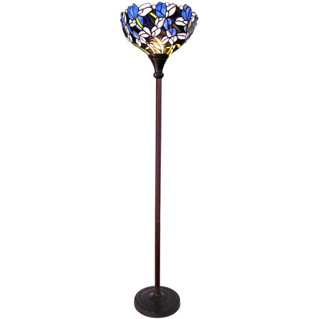 Chloe Lighting Natalie Tiffany-Style 1-Light Iris Torchiere Floor Lamp 14.5