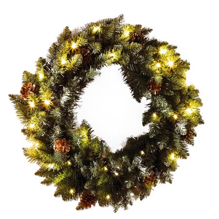 21 In Faux Pine Holiday Wreath With Battery Operated Led Lights