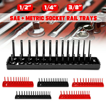 6Psc 1/4 1/2 3/8 SAE&Metric Socket Rail Trays Shelf Organizers Black&Red Kit