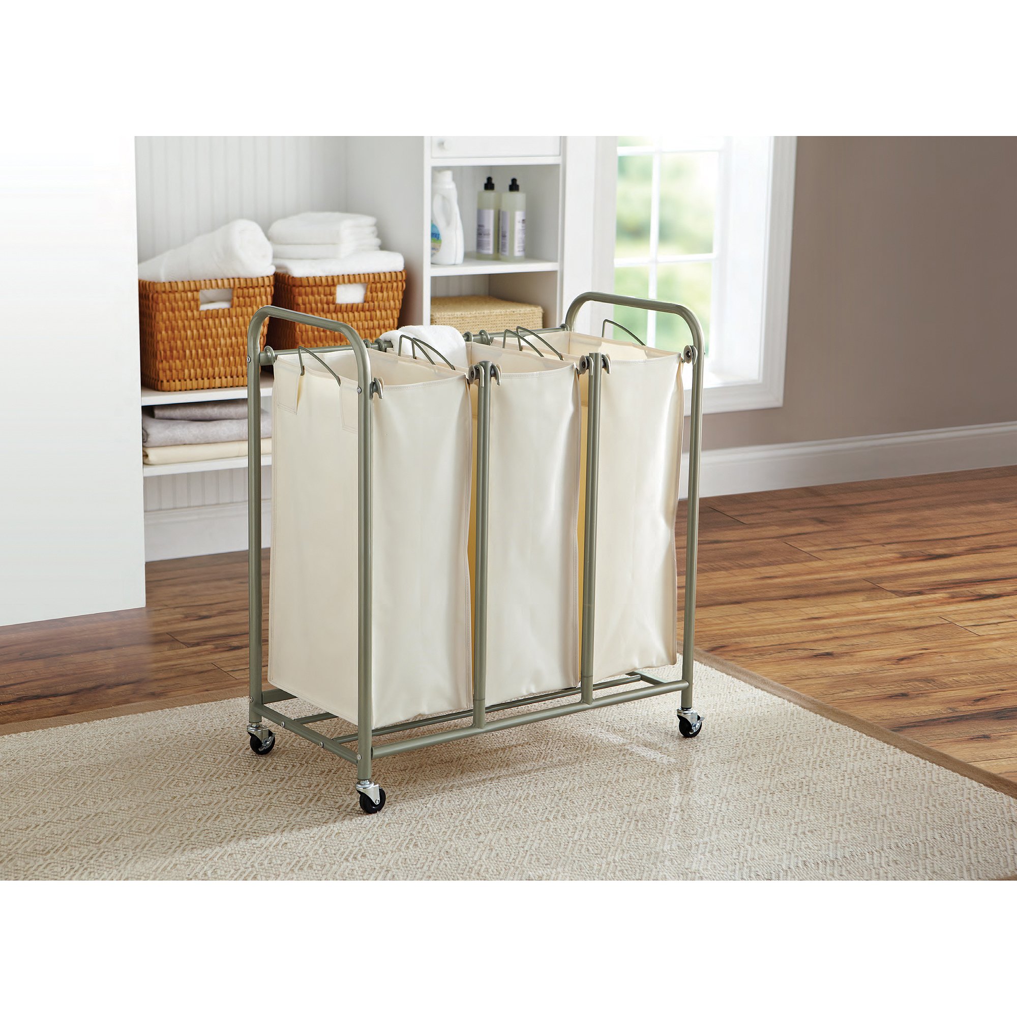 Better Homes and Gardens 3-Bag Laundry Sorter, Brown/Ivory