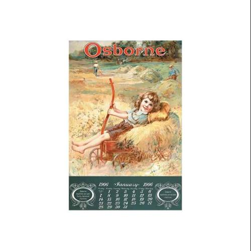 Osborne - Girl On Hay Wagon Print (Black Framed Poster Print 20x30)