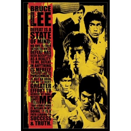 Bruce Lee - Defeat is a State of Mind Montage Poster Poster Print (Bruce Willis Poster)