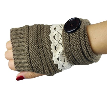 Button Fingerless Gloves - Knit Button Fingerless Gloves With Lace Trim