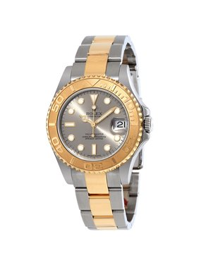 Pre-owned Rolex Yacht-Master Grey Dial Stainless Steel and 18K Yellow Gold Oyster Bracelet Automatic Men's Watch