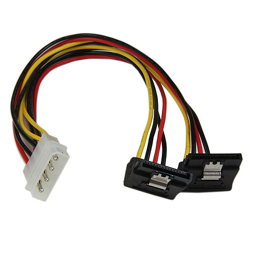 StarTech LP4 to 2 x Right-Angle Latching SATA Power Y Cable Splitter, 12""