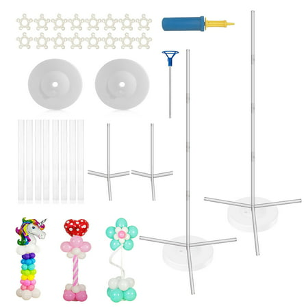 Balloon Column Kit (Party Zealot Quick & Easy 2 Set Balloon Column Stand Kit, 2019 Updated, Tripod Sturdy Bases for Outdoor & Indoor Birthday, Baby Shower, Candy Party, Kids Event Balloon)