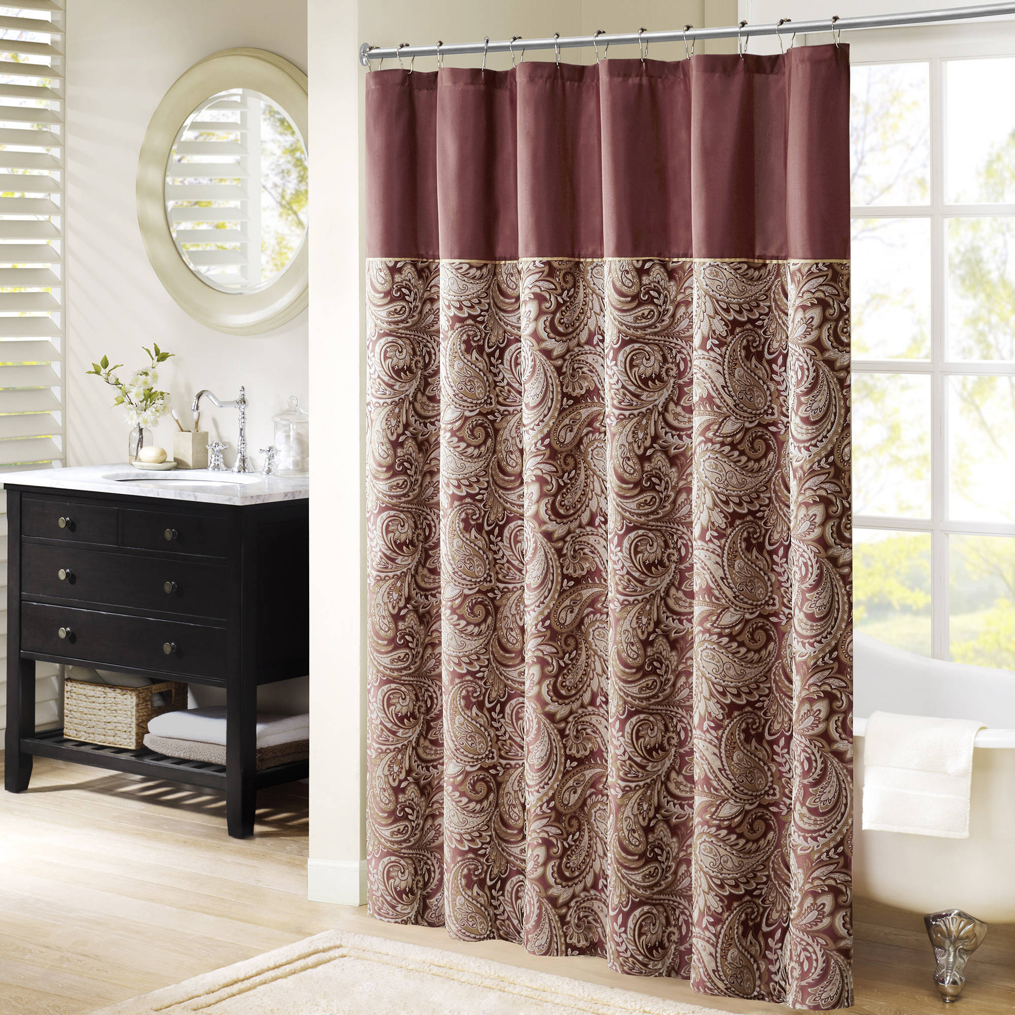 Shower Curtains Walmartcom - Black and gold stripe drapery fabric