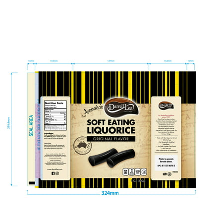 Darrell Lea Original (Black) Soft Eating Liquorice, 7 Oz Bags