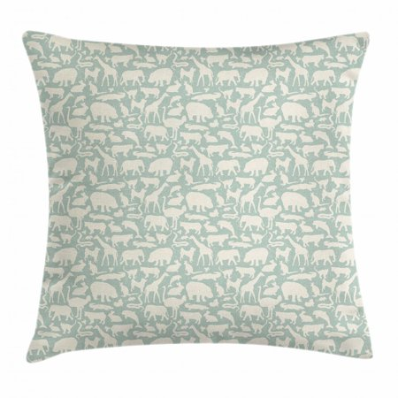 Around Elephant (Animals Throw Pillow Cushion Cover, Fauna Silhouettes around the World Hippo and Elephant Grunge Effect, Decorative Square Accent Pillow Case, 18 X 18 Inches, Pale Sage Green Ivory, by Ambesonne )