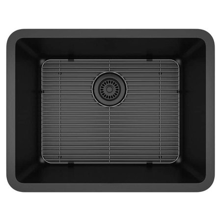 Lexicon Platinum LP-2318-K Medium Single Bowl Quartz Composite Kitchen Sink, Black