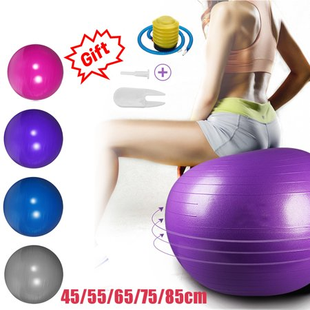 45CM - 85CM Anti-Burst Exercise Yoga Balance Ball - Fitness Thickened Stability Training Ball with Air Pump for Pilates Workouts Weight Loss, Home Gym