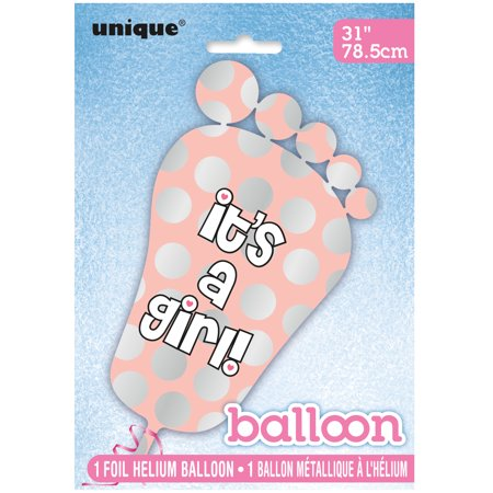 Giant Foil Footprint It's a Girl Baby Shower Balloon, 31 in, Pink, 1ct (Baby Footprint)