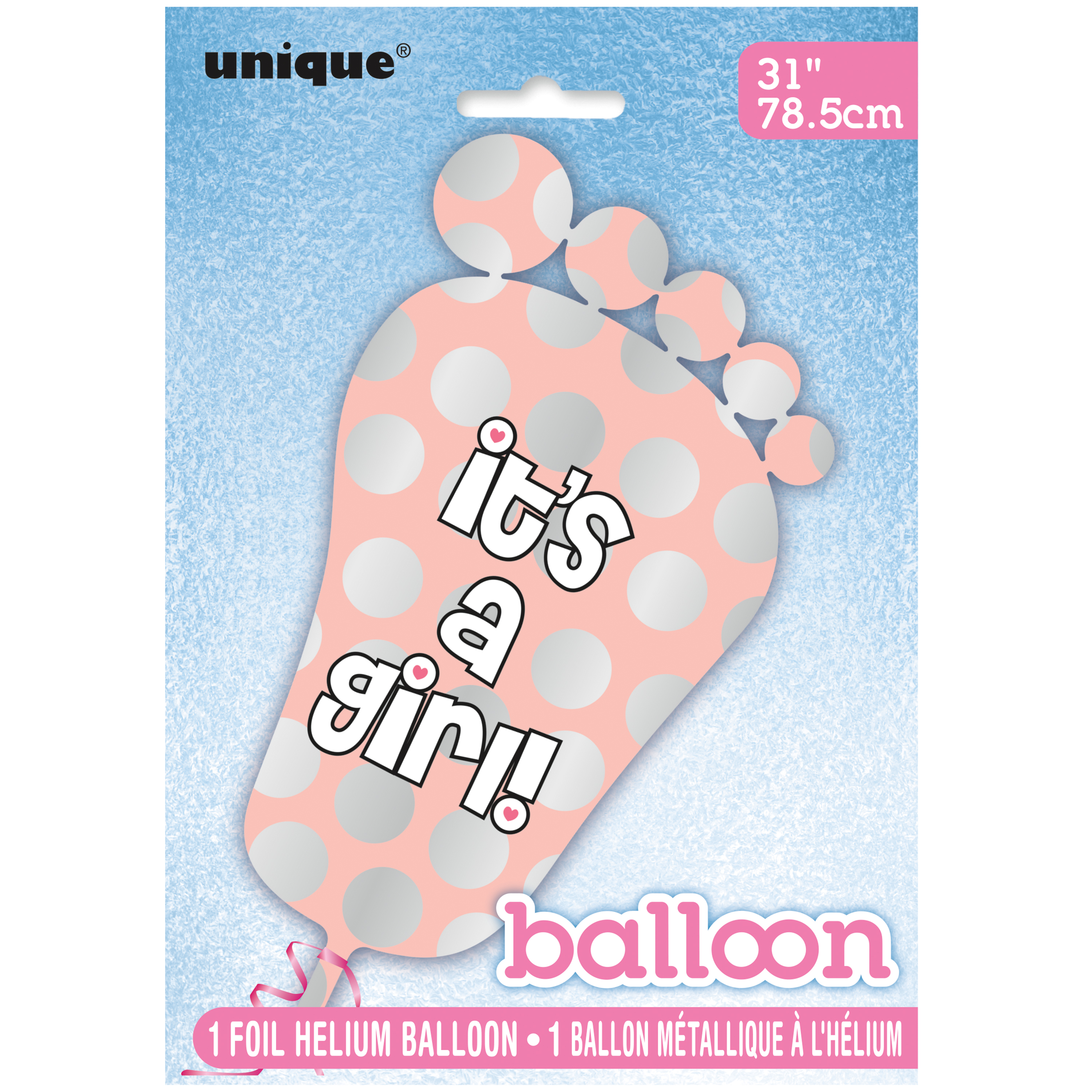 """It's a Girl"" Giant Foil Footprint Baby Shower Balloon, Pink, 31in, 1ct"