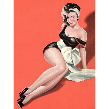 Stretched Canvas Art - Pin Up Girl Brunette With Big White Bow ...