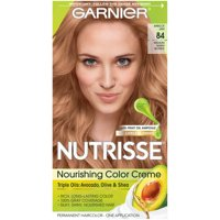Garnier Nutrisse Nourishing Hair Color Creme with Triple Oils, Apricot Jam 84, Medium Warm Blonde, 1 kit