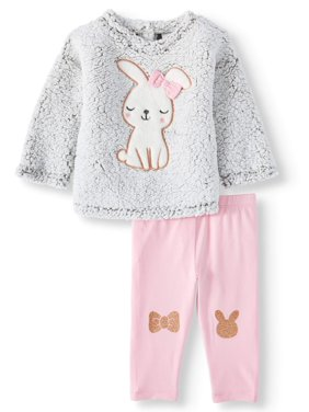 Wonder Nation Sherpa Top and Leggings, 2pc Outfit Set (Baby Girls)