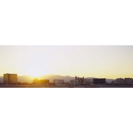Sunrise over a city Las Vegas Nevada USA Canvas Art - Panoramic Images (18 x 6)
