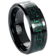 Daxx Men's Ceramic Green Carbon Fiber Inlay Ring