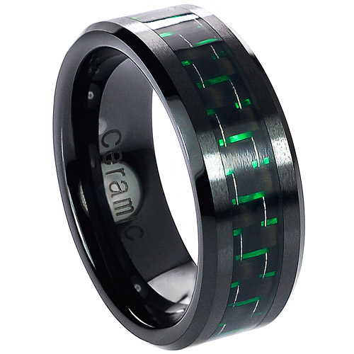 Daxx Men's Ceramic Green Carbon Fiber Inlay Ring