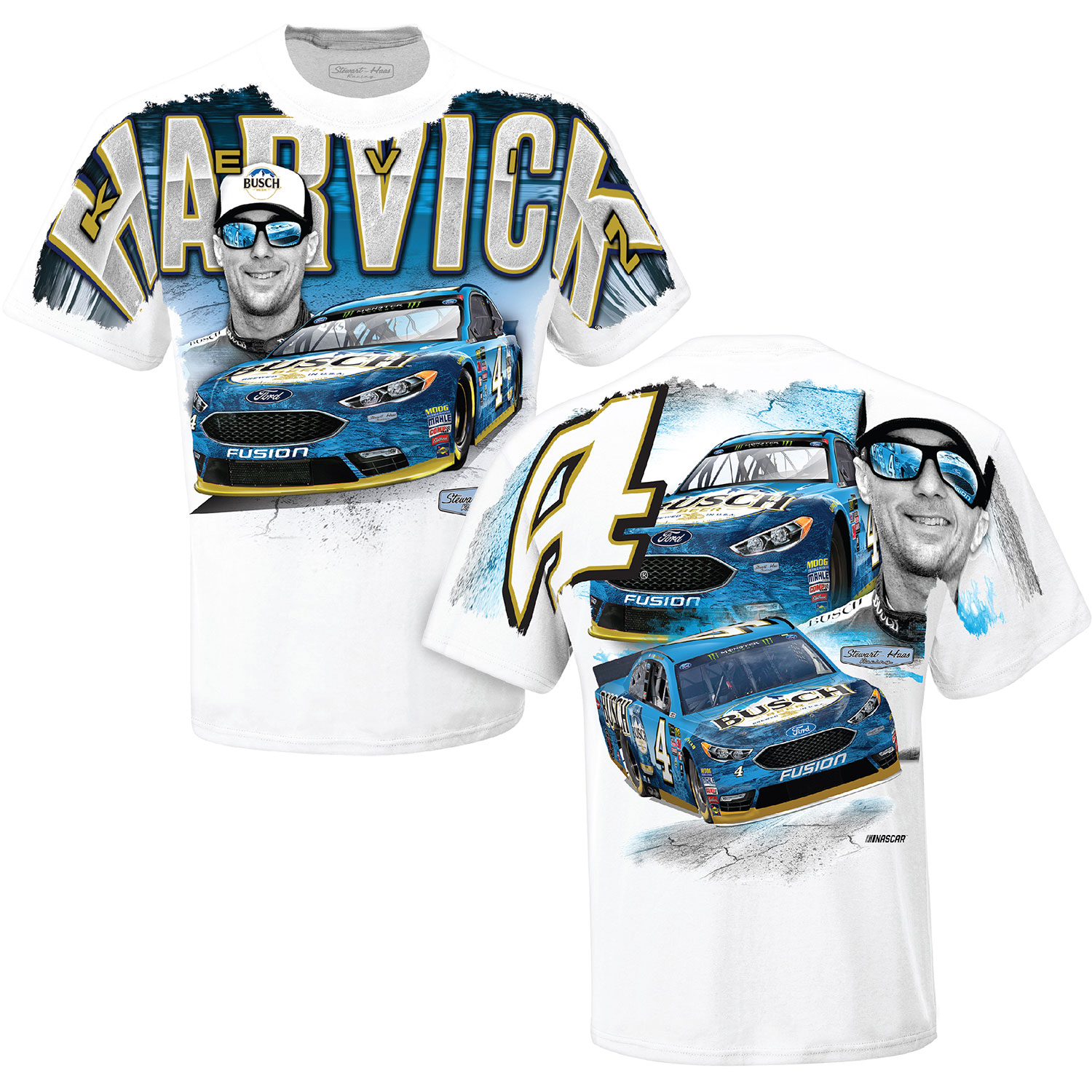 Kevin Harvick Stewart-Haas Racing Team Collection Busch Total Print T-Shirt - White