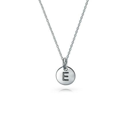 925 Silver Petite Letter E Initial Disc Pendant Necklace 18in ()