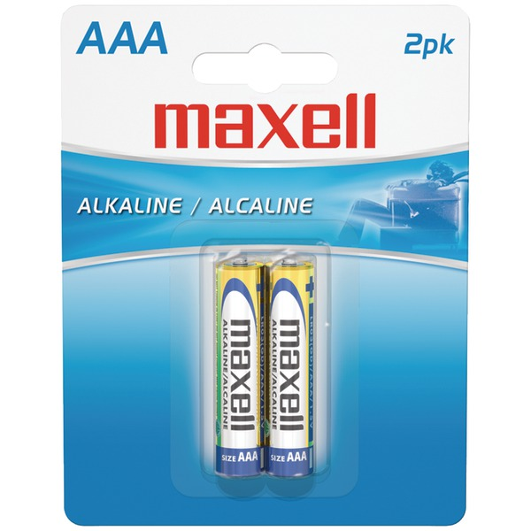 Maxell 723807 AAA Alkaline Batteries, 2-Pack, Carded