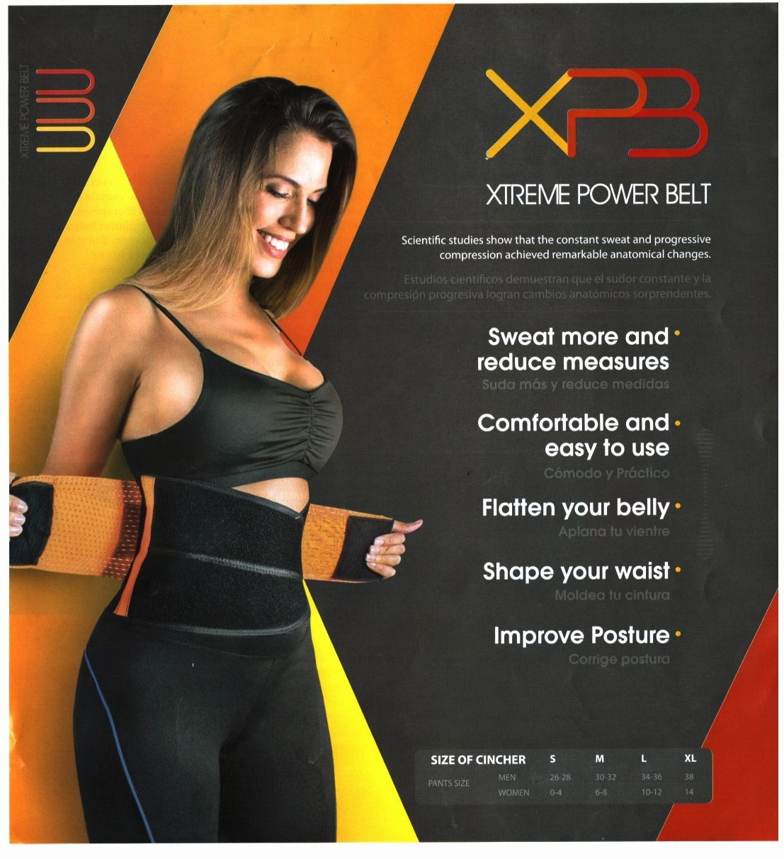 Xtreme Power Belt Orange Shaper (MEDIUM) Support Hot Gym Workout Neoprene  Back Support Lumbar