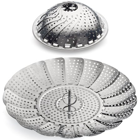 "Stainless Steel Vegetable Steamer Basket Insert for Pots, Pans, Crock Pots & more 5.5"" to 9.3"""