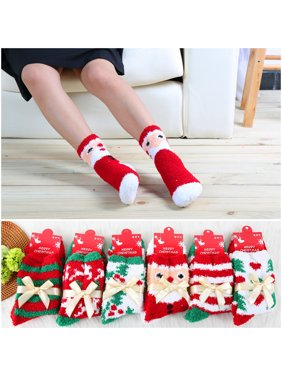 christmas socks coxeer 6 pairs christmas fuzzy crew socks winter party sock for women girls - Walmart Christmas Socks