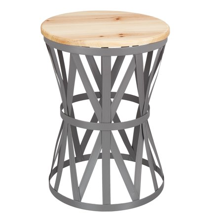 Awe Inspiring Mainstays Forset 18 Gray Metal Garden Stool With Wood Top Inzonedesignstudio Interior Chair Design Inzonedesignstudiocom