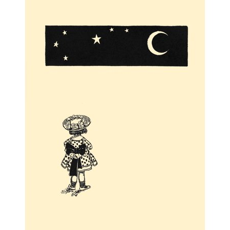 A little girl looks out at the big dipper and a crescent moon  Art atop a poem in a childrens book of tales     Art from Rhyme of the Golden Age 1908  Illustrated by George Reiter Brill  George Reiter