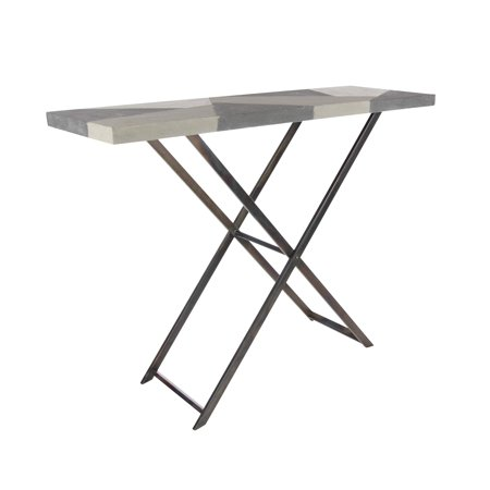 Decmode Contemporary 35 X 47 Inch Iron And Wood Folding Console Table Gray