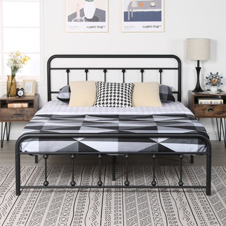 VECELO Metal Queen Platform Bed Frame with Headboard and Footboard, No Box Spring Needed, Black , Heavy Duty Slats & Center Support Systerm