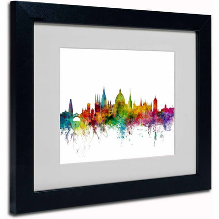 "Trademark Fine Art ""Oxford England Skyline II"" Canvas Art by Michael Tompsett, Black Frame"