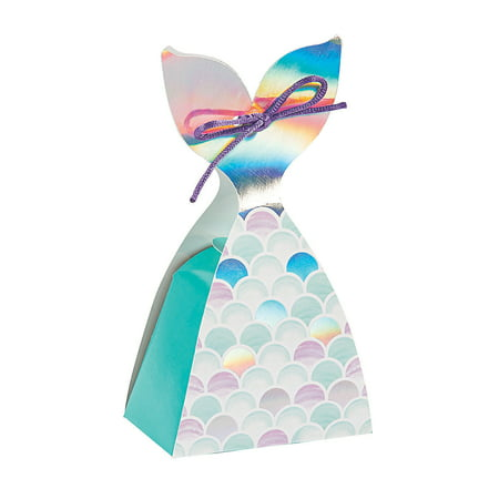 Fun Express - Mermaid Sparkle Tail Treat Box for Birthday - Party Supplies - Containers & Boxes - Paper Boxes - Birthday - 12 Pieces - Twilight Sparkle Birthday Party